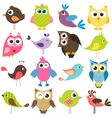 set of funny colorful birds vector image vector image