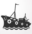 Silhouette fishing vessel vector image vector image