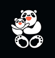 sticker card with happy father and child panda vector image vector image