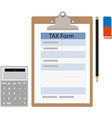 Tax form calculator eraser and pencil vector image
