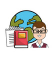 teacher with school tools and global planet vector image vector image