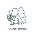 traveller in foresttourist hiking tent vector image vector image