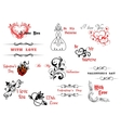 Valentines day symbols and headers vector image vector image