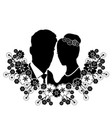wedding silhouette with flourishes 8 vector image vector image