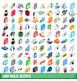 100 mail icons set isometric 3d style vector image