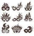 Mask Black White Icons Set vector image