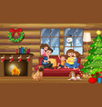 a happy family in the house on christmas vector image