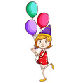 A simple drawing of a young girl with balloons vector image vector image