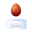 abstract realistic orange egg on pedestal or vector image
