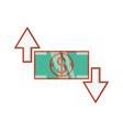 bill dollar money with arrows vector image