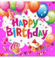 birthday card with balloons and sweets vector image
