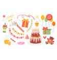 birthday party set happy anniversary design vector image