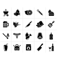 Black Grill and Barbecue Icons vector image vector image