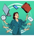 Businesswoman many hands business idea time vector image vector image