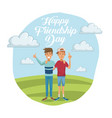 colorful card of happy friendship day with pair of vector image vector image