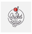 cricket championship logo round linear bats vector image vector image