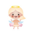 cute blonde happy girl angel stay on pink cloud vector image vector image