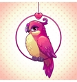 Cute cartoon pink girl bird