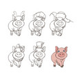 cute pig in different clothing options vector image vector image