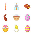 easter time icons set cartoon style vector image vector image