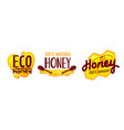 eco honey and bee farm production tags or icons vector image vector image