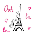 Eiffel Tower with hearts hand drawn vector image