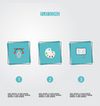 flat icons artist writing science and other vector image vector image