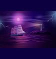 frigate sailing in stormy ocean cartoon vector image vector image