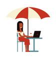 girl freelancer working vector image vector image