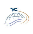 globe and airplane travel logo icon vector image