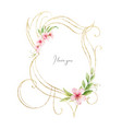 gold frame with watercolor flowers and vector image vector image