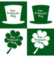 green clover leaves and hat s vector image vector image