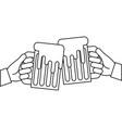 hands holding beer mug foam outline vector image vector image