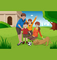 happy family with pets vector image vector image