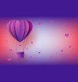 hot air balloon in form of heart in paper art on vector image vector image