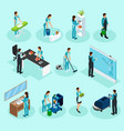 isometric cleaning service set vector image vector image