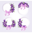Labels with purple crocus flowers vector image vector image