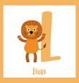 letter l vocabulary lion standing on two legs