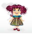 little girl with pink hair vector image