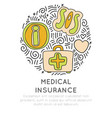 medical insurance hand draw cartoon icon concept vector image vector image