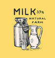 milk can label jug and glass vintage logo vector image vector image