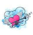 musical background with heart and trumpet vector image vector image