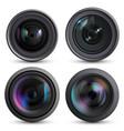 optical lens realistic photo camera digital zoom vector image vector image