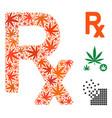 prescription symbol collage of marijuana vector image