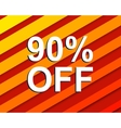 Red striped sale poster with 90 PERCENT OFF text vector image vector image