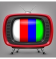 Retro red tv with color strips vector image vector image