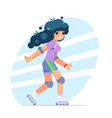 roller girl cute flat design character vector image