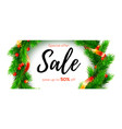 sale save up to fifty percent christmas wreath vector image