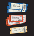 set of eleven tickets show and coupons vector image vector image