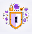 shield and set of icons internet security concept vector image